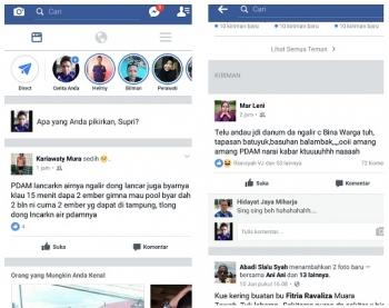 Inilah curhatan warga di media sosial Facebook tentang layanan PDAM Murung Raya