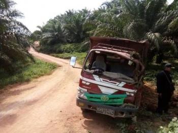 Bagian depan truk bernomor polisi KH 9334 FC penyok seusai kecelakaan di Jalan Poros PT BAT Estate Sapiri, Blok E7/10, Desa Tukang Langit, Kecamatan Telaga Antang Kalang, Kotim, Sabtu (10/6/2017).