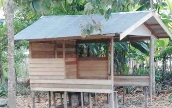 Salah satu proyek Desa Tamban Makmur yang diduga tidak sesuai dengan dana yang dianggarkan.