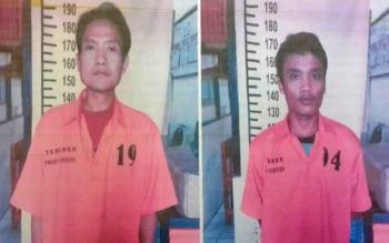 Jumiran dan Eko Prihatama alias Supri terdakwa curi sawit.