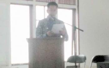 Bupati Barito Utara, Nadalsyah memberikan Bupati Barito Utara Nadalsyah memberikan sambutan pada kegiatan Konsultasi publik kemajuan proses usulan kawasan hutan lindung Lampeong-Gunung Lumut menjadi Taman Nasional dan Rakor Damang