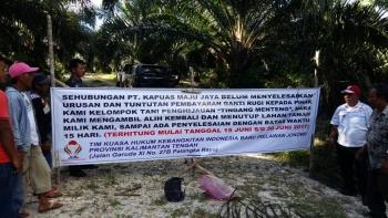 Kelompok Tani Penghijauan Tingang Mekar menuntut ganti rugi kepemilikan lahan kepada PT Kapuas Maju Jaya (KMJ). Perusahaan yang beroperasi di Desa Jangkang, Kecamatan Pasak Telawang, Kapuas, Kalimantan Tengah ini dinilai ingkar janji.