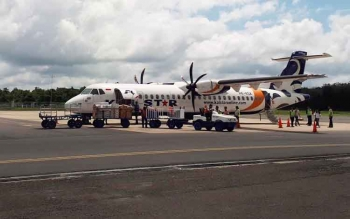 Salah satu armada maskapai penerbangan yang tiba di Bandara Haji Asan Sampit, Rabu (21/6/2017)