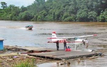 Sungai Barito yang berada di Tumbang Kunyi, Kecamatan Sumber Barito, Kabupaten Murung Raya.