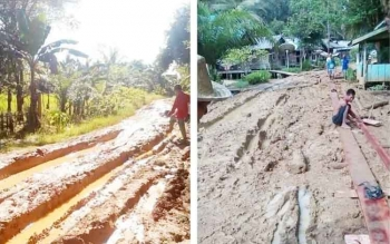Jalan Desa Kayumban Bagai Kubangan Kerbau