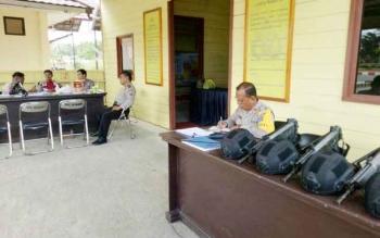 Suasana di pos pengamanan lebaran oleh pihak Polres Murung Raya, Kamis (29/6/2017).