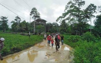 Kondisi jalan di RT 4 dan 5, Kelurahan Puruk Cahu, Kabupaten Murung Raya, sangat memprihatinkan.