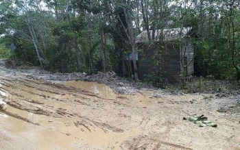 Kondisi Jalan Gadjah Mada yang merupakan penghubung Kota Puruk Cahu dan Kelurahan Muara Laung, Kecamatan Laung Tuhup, Kabupaten Murung Raya, sangat memprihatinkan, Kamis (6/7/2017).