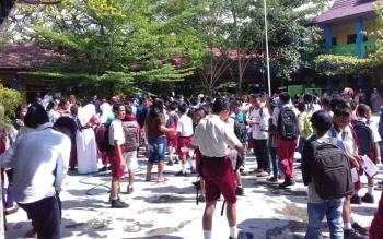 Pengumuan PPDB di salah satu sekolah di Sampit.