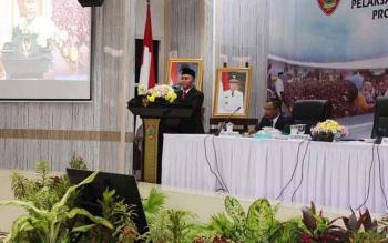 Gubernur Kalteng Sugianto Sabran saat membuka Rakordal Triwulan II di Aula Bappedalitbang, Kota Palangka Raya, Rabu (12/7/2017).