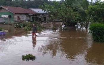 Banjir di Kelurahan Puruk Cahu, Kecamatan Murung Kabupaten Murung Raya masih belum surut hingga Minggu (16/7/2017)\\r\\n