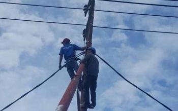 Teknisi PT PLN Rayon Sukamara saat melakukan perbaikan jaringan listrik