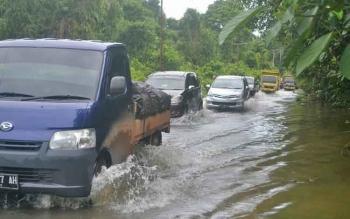 Arus lalu lintas di Jalan Trans Kalimantan Km 10 Kasongan arah Kereng Pangi sejak pagi tadi terendam banjir.