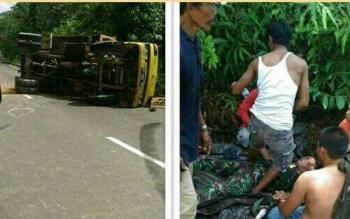 Kecelakaan tunggal yang dialami anggota TNI di ruas jalan Puruk Cahu - Muara Laung, Jumat (21/7/2017).