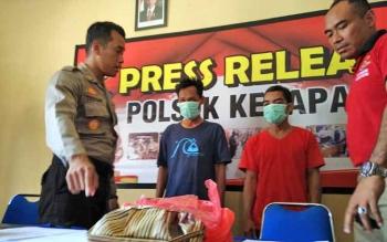Kapolsek Ketapang AKP Todoan Gultom bersama anggotanya saat menginterogasi tersangka pengedar zenith yang mereka ringkus.