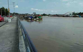 Debit air Sungai Kahayan mulai menunjukkan peningkatan.