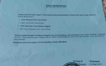 Surat pemecatan empat guru honor di SDN 1 Ruwung Buyung, Kecamatan Cempaga.