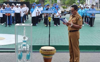 Kepala Dibudparpora Kabupaten Barito Utara Arbaidi saat menyampaikan sambutan pada pembukaan FBIMBT, Senin (24/7/2017).