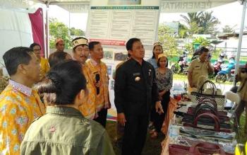 Bupati Pulang Pisau saat meninjau lokasi pameran pada Festival Sosial Dasar dan gelar seni budaya di Kecamatan Kahayan Hilir.