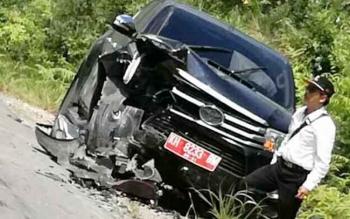 Beginilah kondisi mobil Kepala Dinkes Kapuas, Afendi seusai kecelakaan.