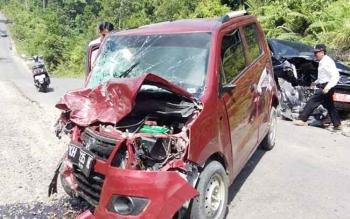 Kecelakaan lalu lintas yang terjadi di ruas Palangka Raya-Kuala Kurun, Desa Pangi Kecamatan Banama Tingang Kabupaten Pulang Pisau, Rabu (26/7/2017)