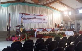 Suasana ruang Gedung Serbaguna Sampit, tempat pelantikan pejabat lingkungan Pemkab Kotim.