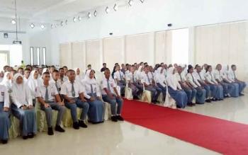 Calon peserta Paskibraka saat mengikuti kegiatan pembukaan pendidikan dan pelatihan pasulan pengibaran bendera pusaka merah putih.