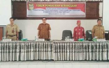 Forum Pembauran Kebangsaan di aula kantor Badan Perencanaan, Pengembangan dan Penelitian Daerah Kabupaten Gunung Mas, Senin (31/7/2017)