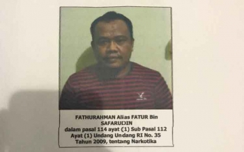 Fathurahman alias Fatur terdakwa sabu yang kabur saat hendak disidang di Pengadilan Negeri Sampit, Selasa (1/8/2017).