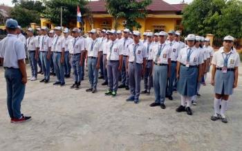 Para calon anggota Paskibraka Kabupaten Gunung Mas.