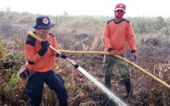 Personel satuan tugas pemadam kebakaran lahan saat berusaha memadamkan api di lahan wilayah Kecamatan Mentaya Hilir Selatan.