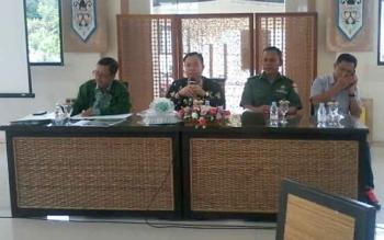 Plt Bupati Sakariyas saat coffe morning di pendopo rumah jabatan bupati, Jumat (4/8/2017).