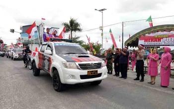 Tim Ekspedisi Merah Putih yang melintas jalur Kabupaten Sukamara.