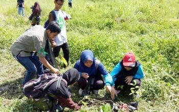 Kader konservasi sedang menanam tanaman buah endemik Kobar di eks TPA TransLIK Desa Pasir Panjang Pangkalan Bun, beberapa waktu lalu