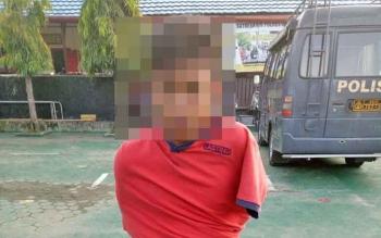 NH, 17, saat ditangkap jajaran Satreskrim Polres Barito Utara akibat kasus pencurian kendaraan bermotor, beberapa waktu lalu.