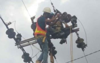 Petugas PLN Rayon Sukamara saat melakukan perbaikan jaringan listrik.