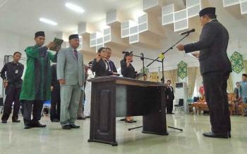Suasana pelantikan pejabat di lingkungan Pemkab Pulang Pisau, sore tadi.
