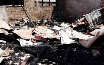 Puing di SDN 1 Mentang, salah satu sekolah yang terkena musibah kebakarna beruntun, di Palangka Raya bulan Juli lalu.