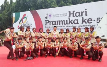 Ketua Kwarcab Murung Raya, Rejikinoor saat mendampingi kontingen Pramuka Murung Raya mengikuti Raimuna Nasional di Bumi Perkemahan dan Graha Wisata (Buperta) Cibubur, Jakarta Timur, Senin (14/8/2017).