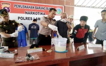 Kapolres Lamandau bersama sejumlag perwakilan FKPD saat memusnahkan barang bukti.