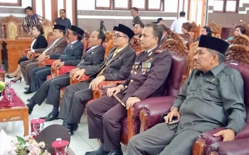 Rapat Paripurna Istimewa DPRD Kabupaten Gunung Mas, Rabu (16/8/2017).