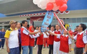 Perayaan HUT Persagi Kapuas yang ke-10 ditandai dengan pelepasan balon ke udara, Jumat (18/8/2017).