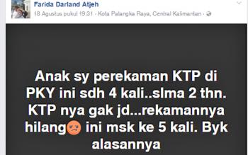 Status media sosial milik Faridawatu Darland Adjeh mengenai KTP putranya