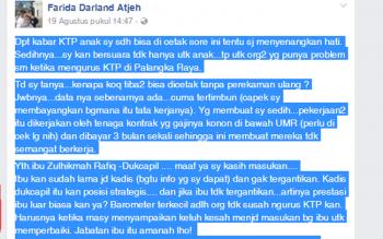 Inilah komentas pedas Faridawaty di akun Facebook atas pelayanan di kantor Dinas Kependudukan dan Catatan Sipil Kota Palangka Raya
