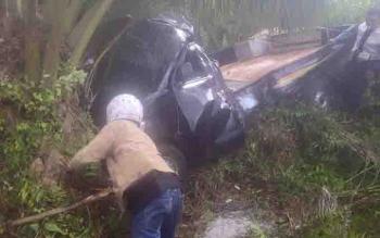 Pikap yang menabrak pohon sawit di Jalan Tjilik Riwut, Kota Besi, Kotim. Dua korban tewas yakni ibu dan anaknya yang masih berusia satu tahun.