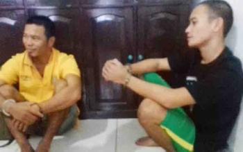 Priyono alias Restu dan Muhammad Ancis Nanang tersangka kasus curi sawit.