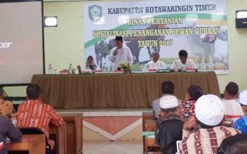 Suasana sosialisasi penanganan hewan kurban di Dinas Pertanian Kotim, Rabu (23/8/2017)