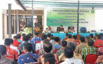 Sosialisasi Peran Tim Pengawalan Pengamanan Pemerintah Pembangunan dan Daerah serta DD dan Permasalahannya, dengan peserta kepala desa se-Barito Selatan, Kamis 24/8/2017).