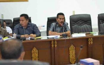 Wakil Ketua II DPRD Barut, Acep Tion saat memimpin RDP bersama pemerintah daerah.