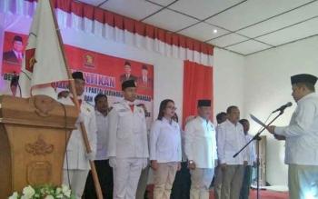 Ketua DPC Gerindra Lamandau, Marukan, dan jajaran pengurus saat dilantik, Rabu (30/8/2017).